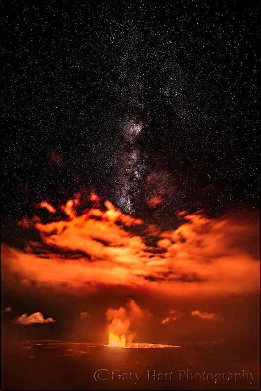 Night Fire, Milky Way Above Kilauea, Hawaii