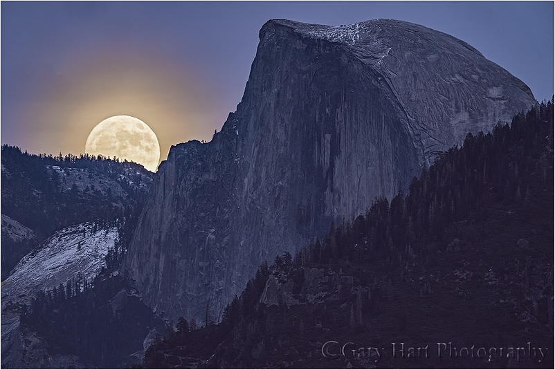 Winter Supermoon, Half Dome, Yosemite
