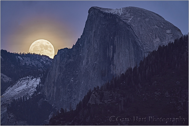 Winter Supermoon, Half Dome, Yosemite