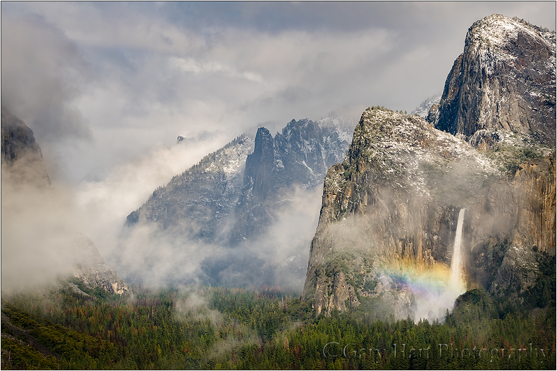Rainbow and Snowfall, Bridalveil Fall, Yosemite