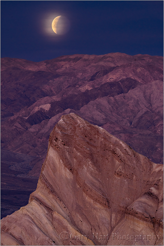 Moonset Eclipse, Zabriskie Point, Death Valley