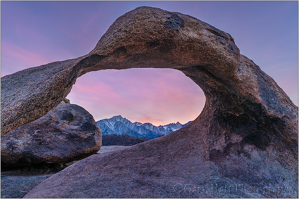 Sunset, Mt. Whitney and Mobius Arch, Alabama Hills