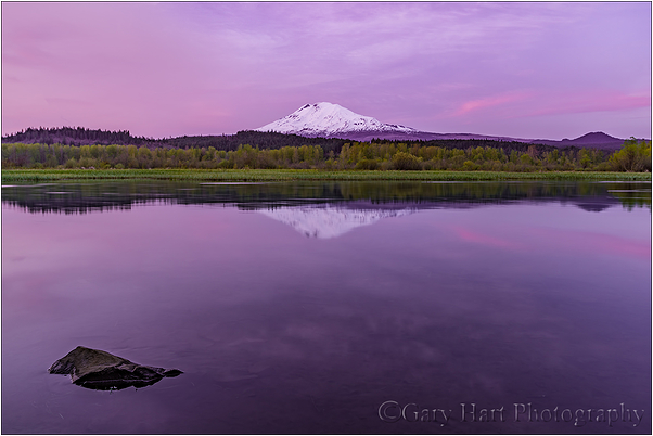 Sunset Calm, Trout Lake and Mt. Adams, Washington