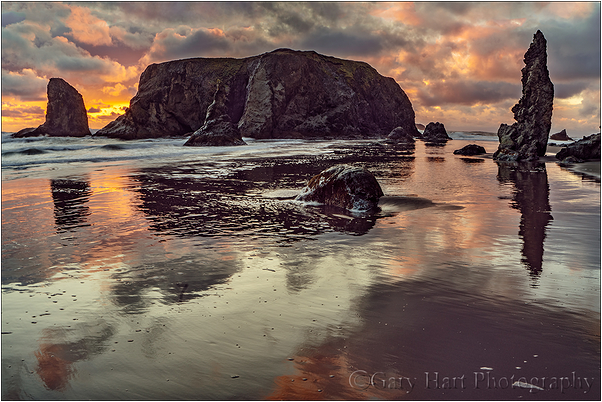 Sunset Reflection, Bandon Beach, Oregon
