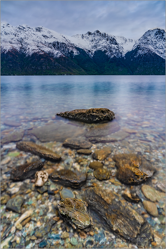 Dawn on the Rocks, Lake Wakatipu, New Zealand