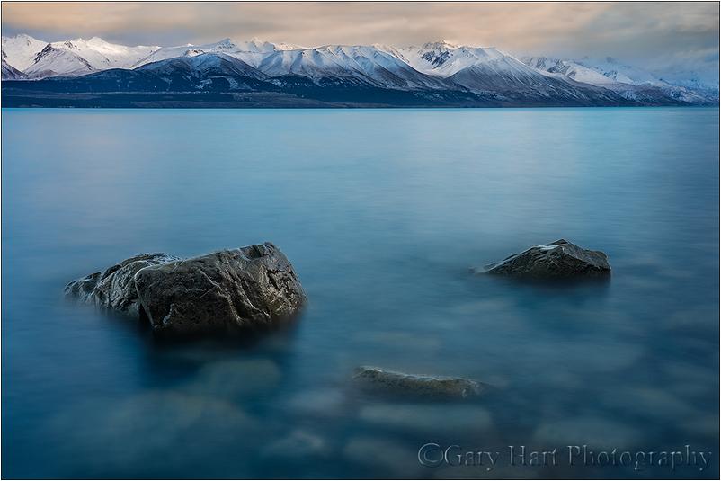 Dawn on the Rocks, Lake Pukaki, New Zealand