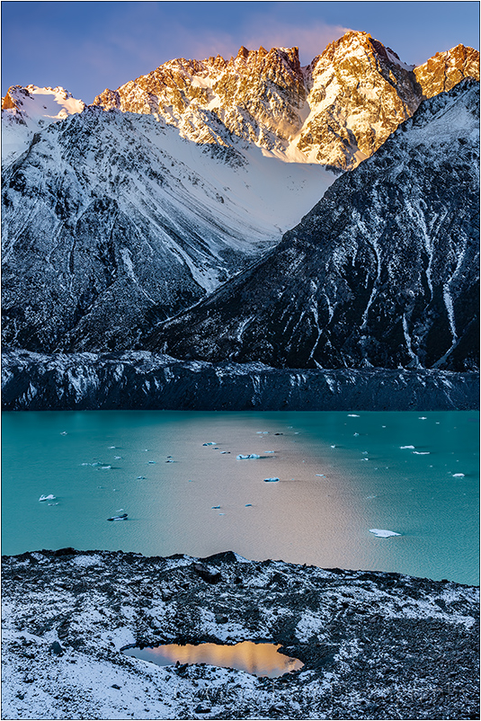 Reflection on the Rocks, Tasman Lake, New Zealand