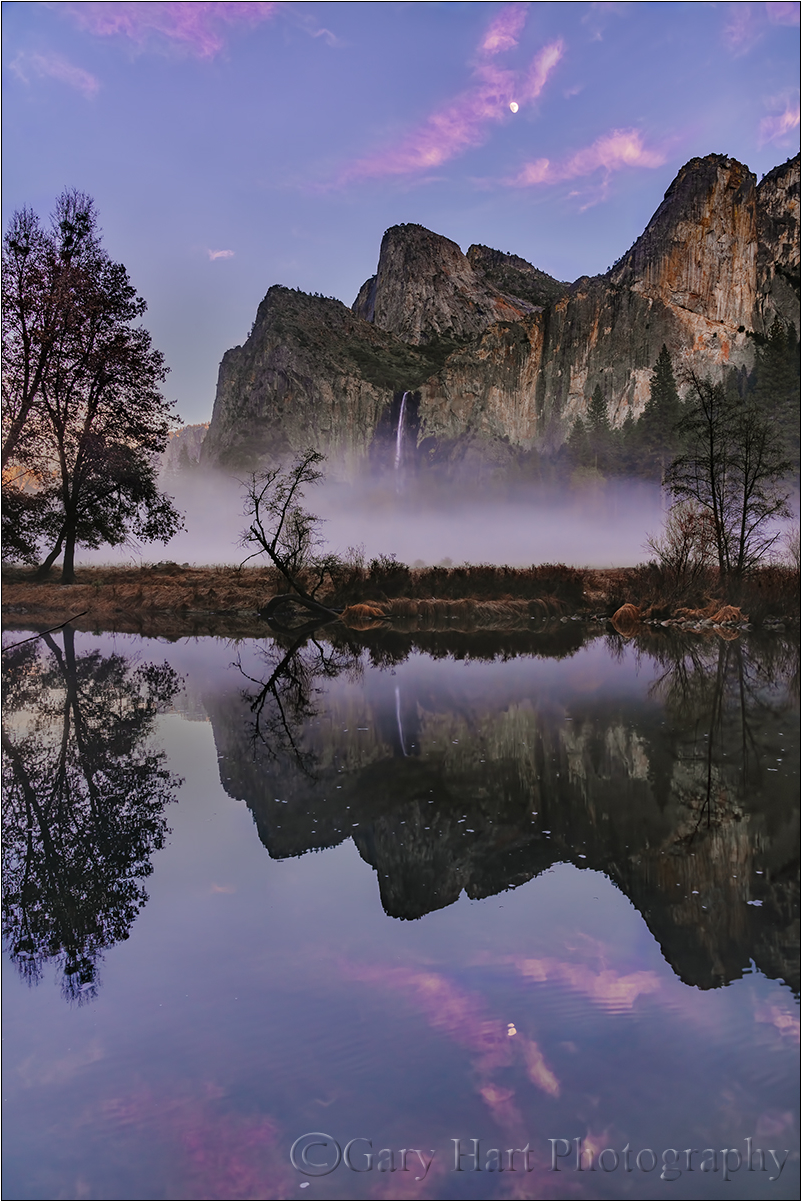 Moonrise Reflection, Bridalveil Fall, Yosemite