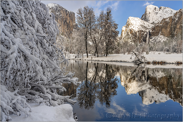 Snow and Reflection, El Capitan, Yosemite