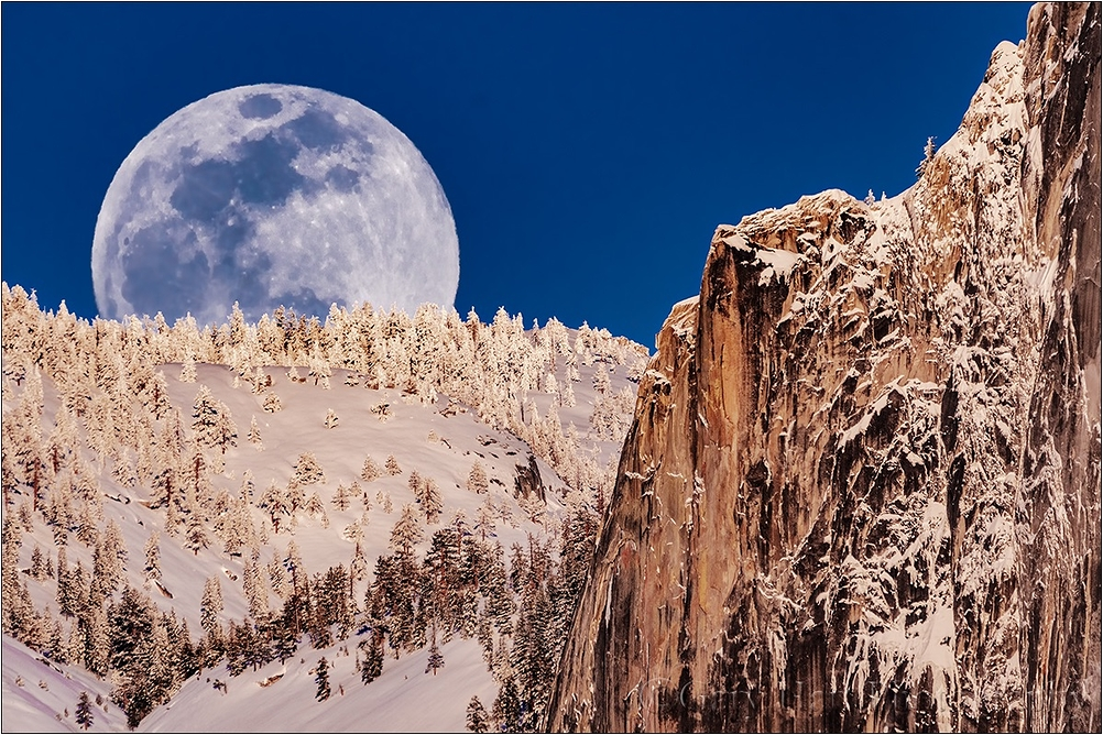 Winter Moonrise, Full Moon and Half Dome, Yosemite