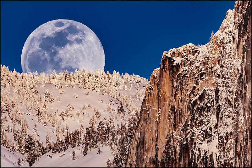 Winter Moonrise, Full Moon and Half Dome, Yosemite