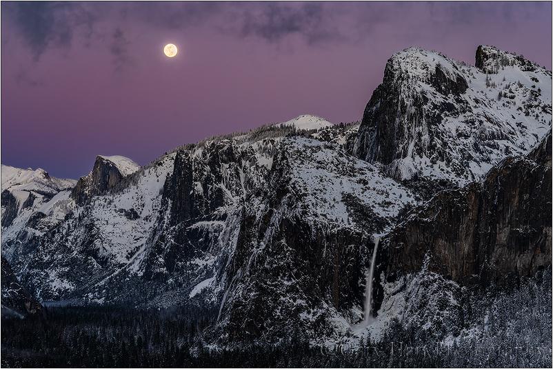 Nightfall, Full Moon Above Yosemite Valley