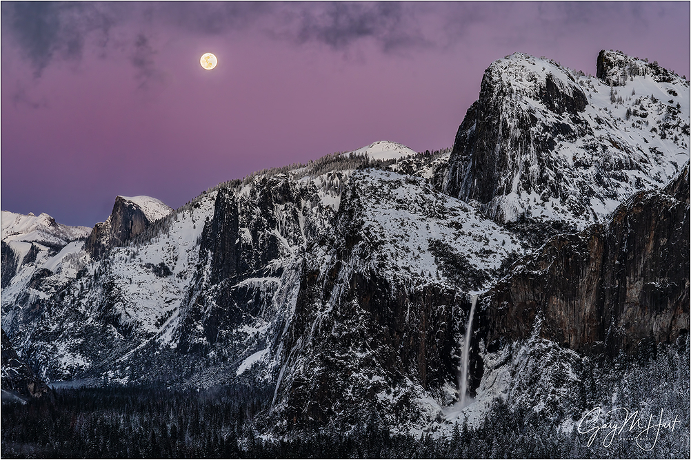 Nightfall, Full Moon Above Yosemite Valley