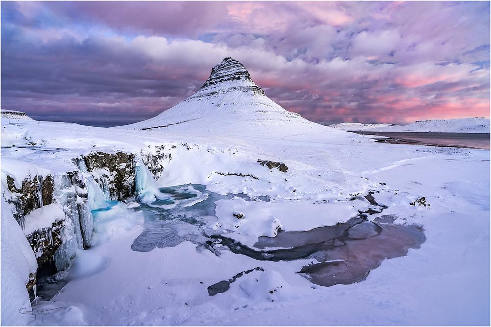 Frozen Sunrise, Kirkjufell, Iceland
