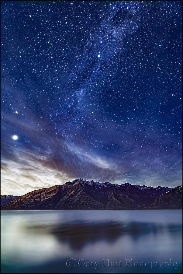 Moonlight & Milky Way, Lake Wakatipu, New Zealand