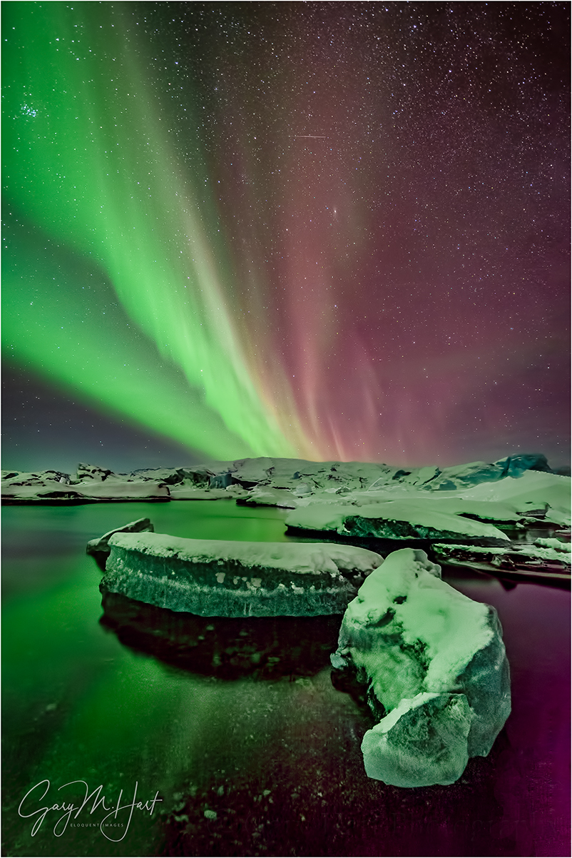 Aurora on Ice, Glacier Lagoon, Iceland