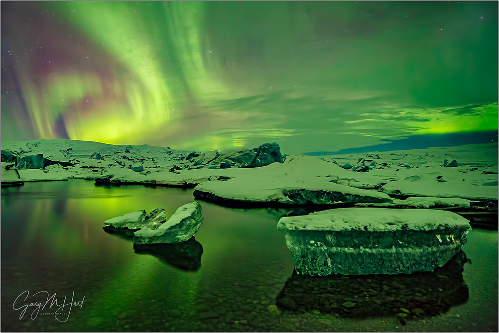 Aurora Reflection, Glacier Lagoon, Iceland