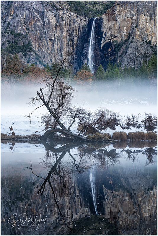 Winter Chill, Bridalveil Fall Reflection, Yosemite