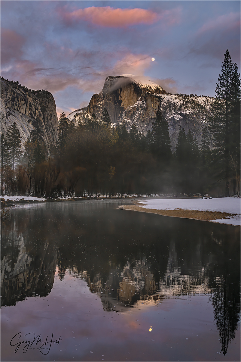 Winter Moon Reflection, Half Dome, Yosemite