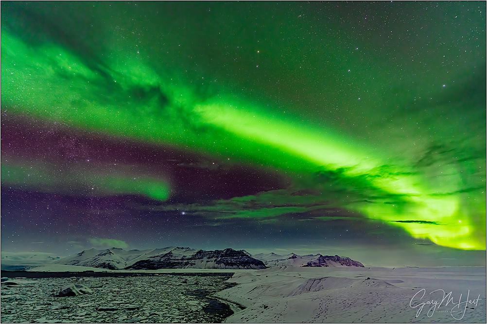 Heaven Sent, Aurora Above Glacier Lagoon, Iceland