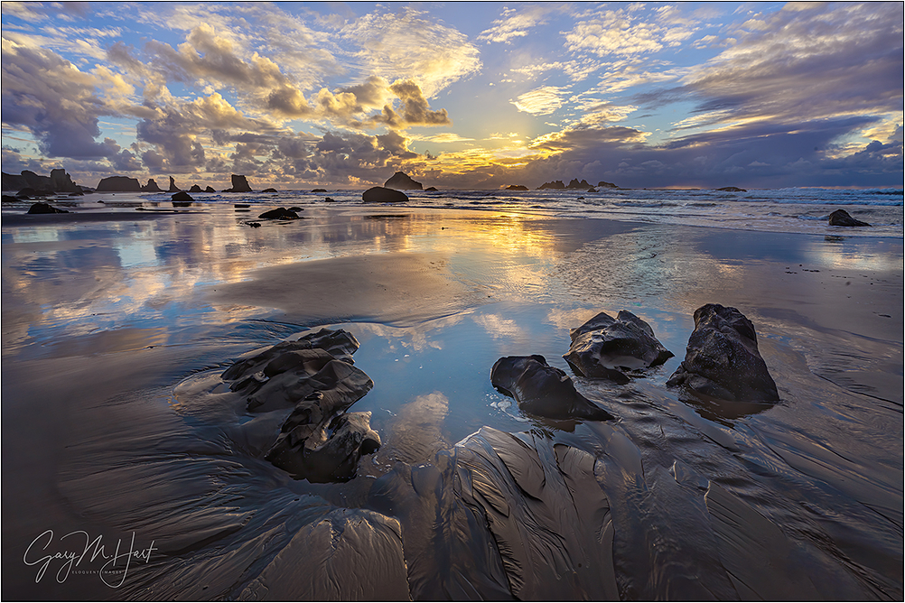 Sand Like Glass, Bandon Beach Sunset, Oregon