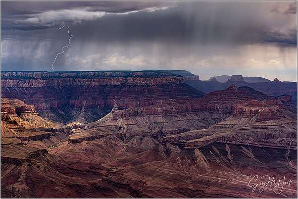 Rain and Lightning, Lipan Point, Grand Canyon