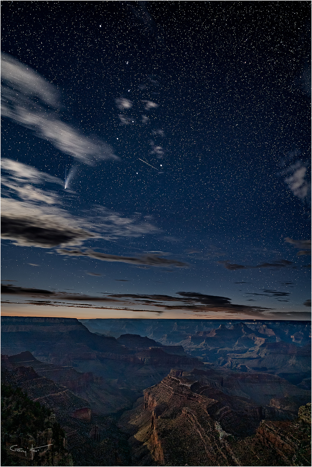 Comet NEOWISE and the Big Dipper, Grand Canyon