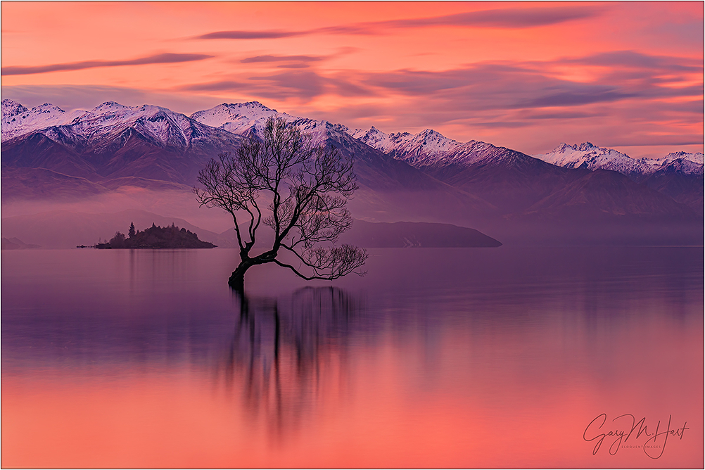 Red Sunset, Lake Wanaka, New Zealand
