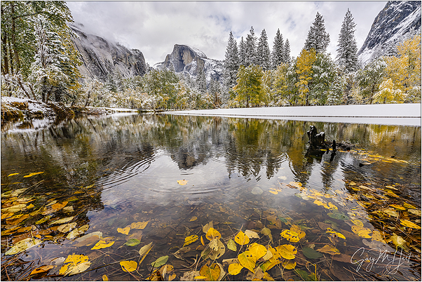 Autumn Snow, Half Dome Reflection, Yosemite