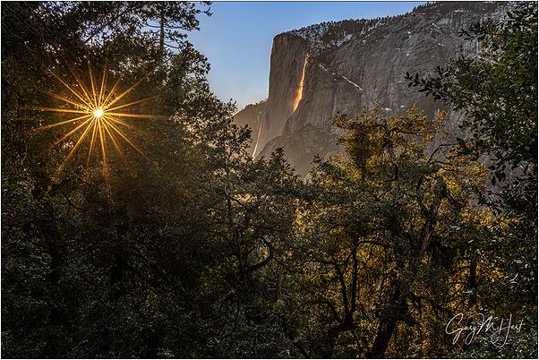 Sunstar, Horsetail Fall and El Capitan, Yosemite