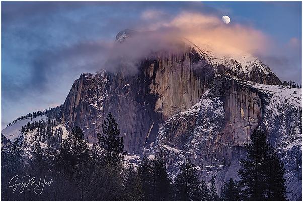 Moonrise Through the Clouds, Half Dome, Yosemite