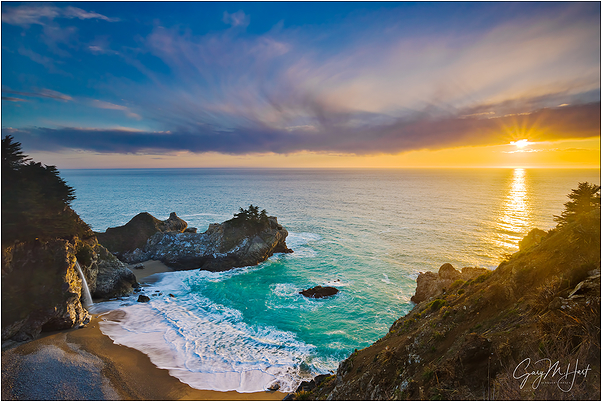 Sunset, McWay Fall, Big Sur, California