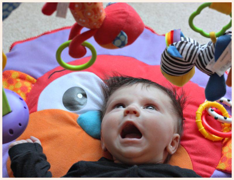 baby grandchild shrieks with joy