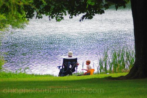 Madison Lake, fishing, Grandpa and grandson