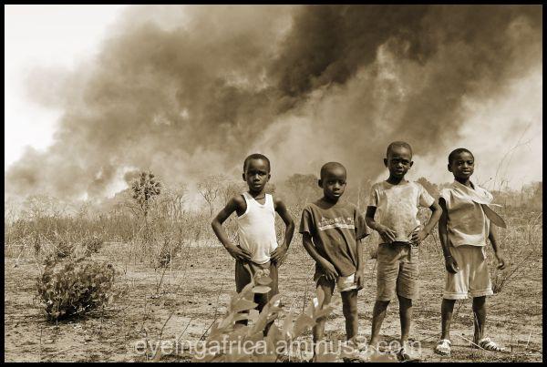 Bush fires rip past Gambian village