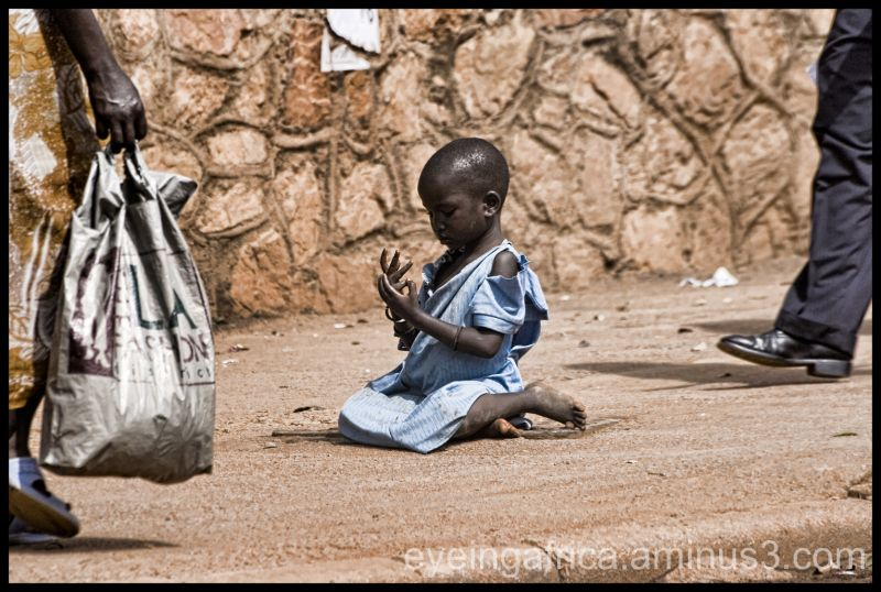 Karamojong girl begging on the streets of Kampala