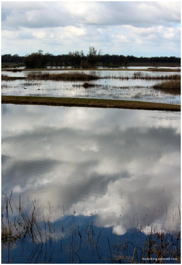 Reflections on blue lake