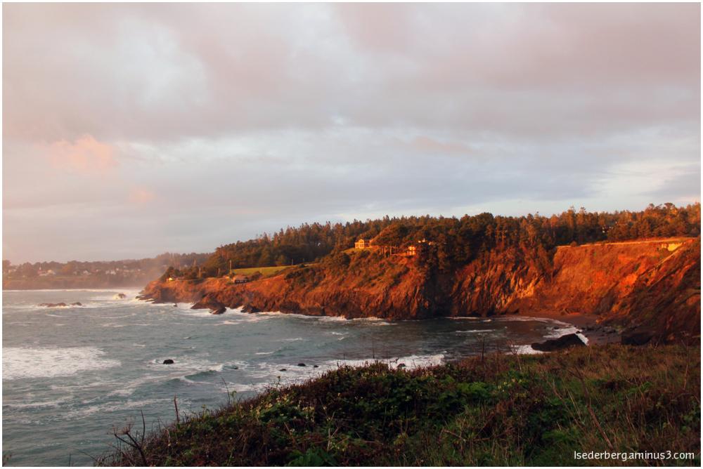 Bay House cliffs with sun