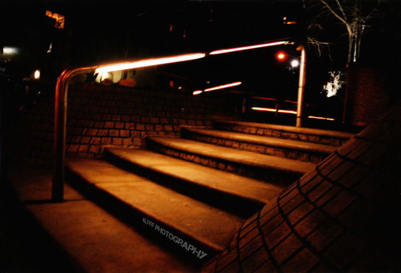 A lit up stair way