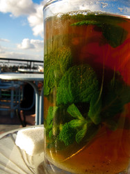 green tea, macro,glass