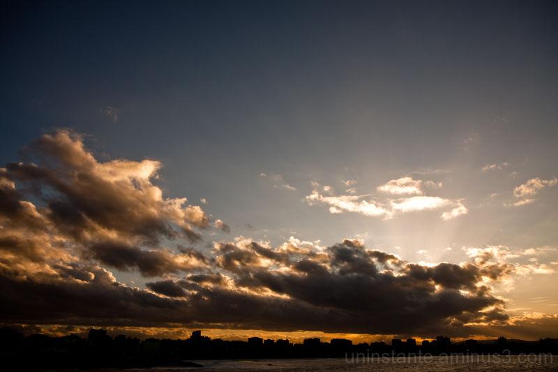 Gijon, coastline, sunset