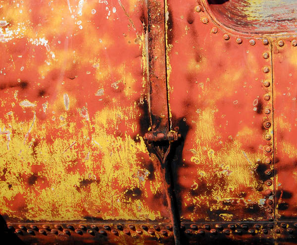 Rust on the bottom of an old tank