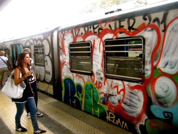 Graffiti on the train in Italy