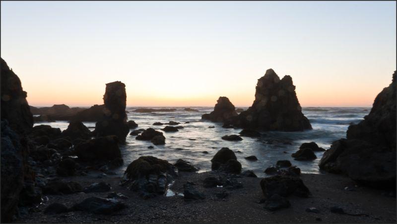 ocean rocks at dusk