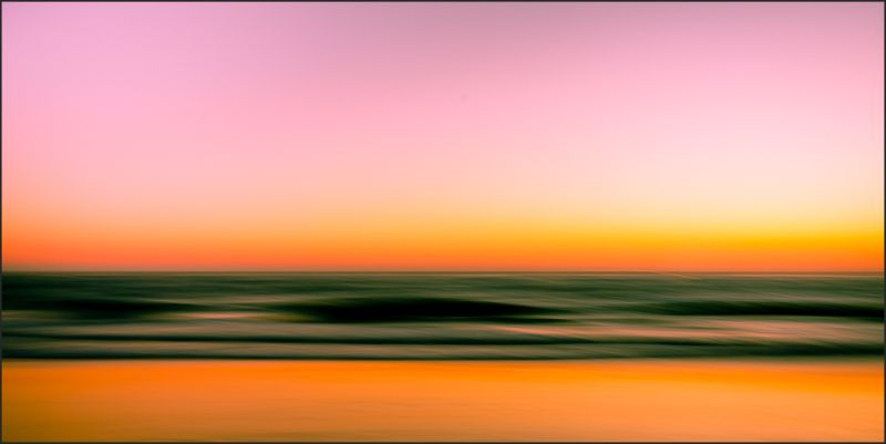 Sunset at Strands Beach using panning and long exp