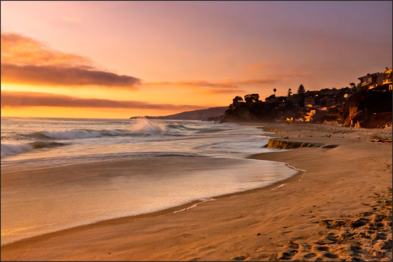 Laguna Beach at sunset golden