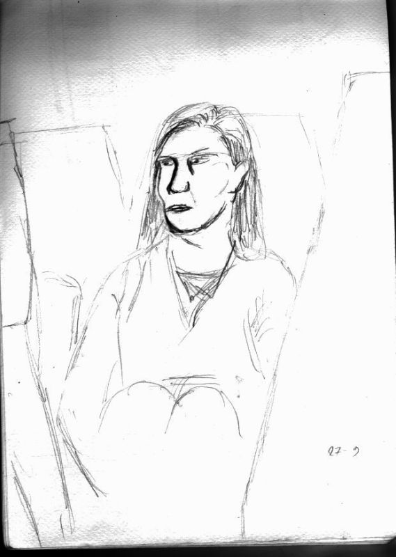 Draw of a person on the train