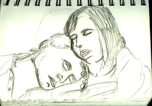 Sketch of a sleeping couple on the train