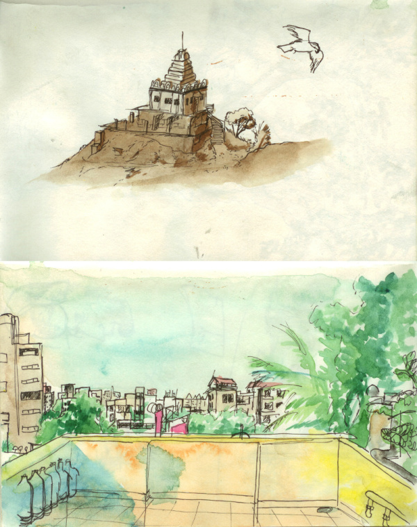 An temple in Pune & View of the city of Pune