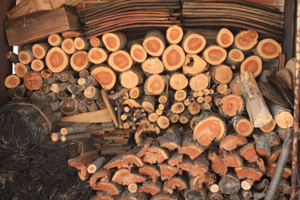 cut wood stacked for winter at the farm